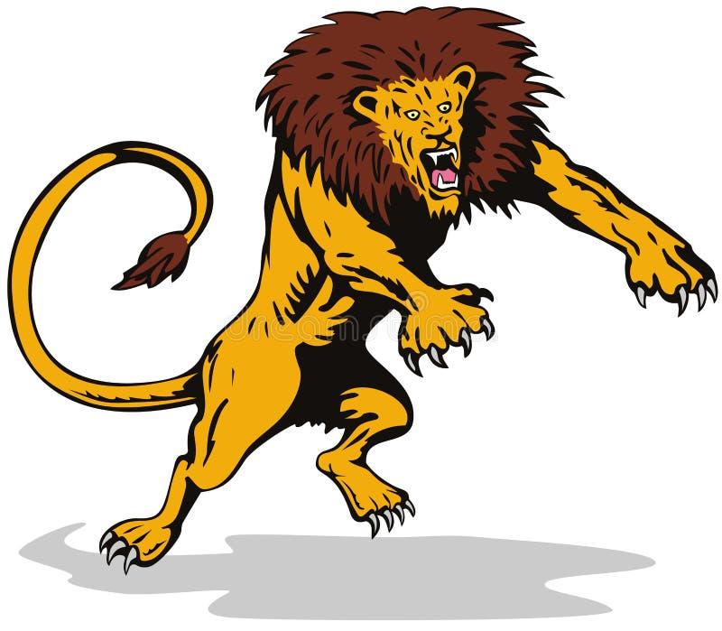 атакуя свирепый львев иллюстрация штока