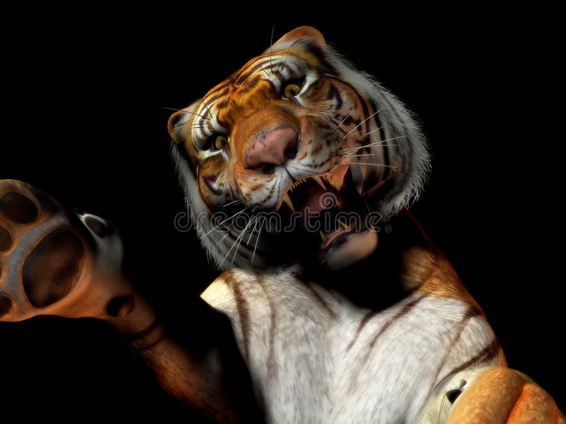 атакуя тигр крупного плана иллюстрация штока
