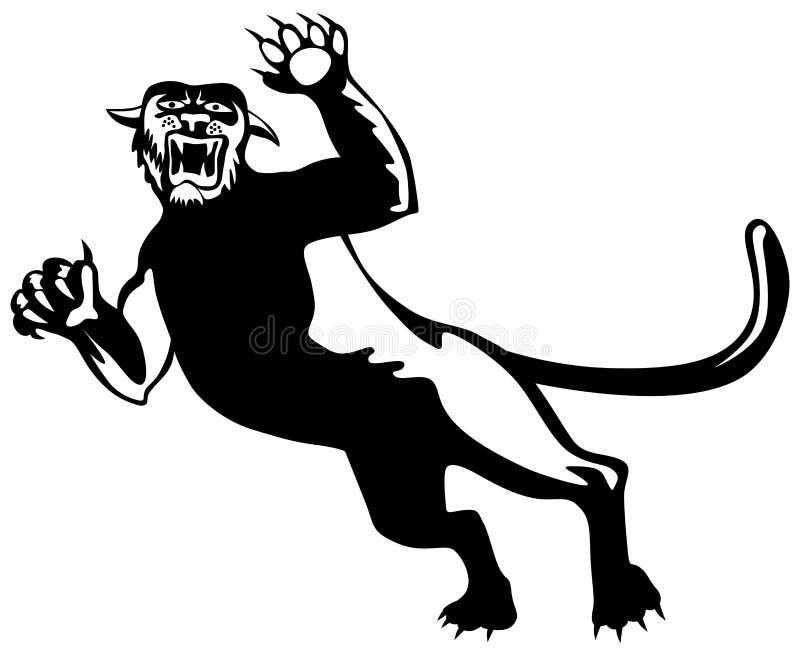 атакуя черная пантера иллюстрация штока