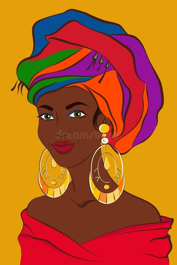 латинская женщина Кубинськая девушка с красочным тюрбаном и большими золотыми серьгами Южный - американская женщина также вектор  бесплатная иллюстрация