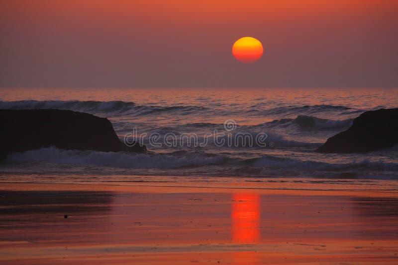 атлантический заход солнца стоковая фотография