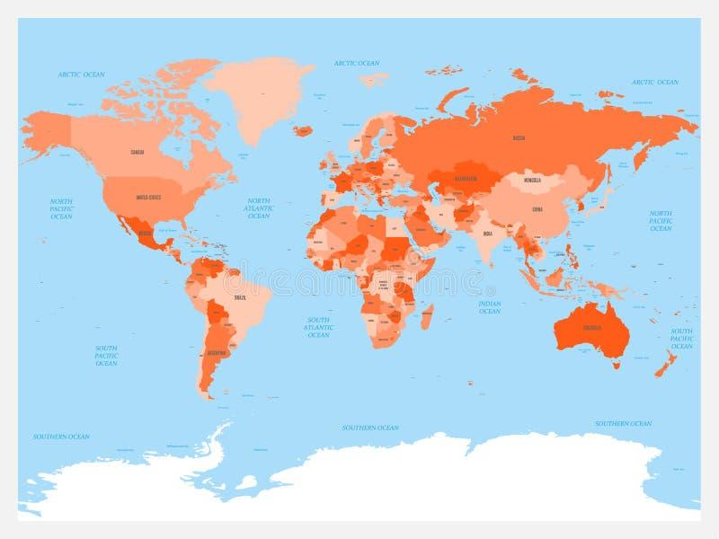 Атлас карты мира Красный цвет покрасил политическую карту с голубыми морями и океанами также вектор иллюстрации притяжки corel бесплатная иллюстрация