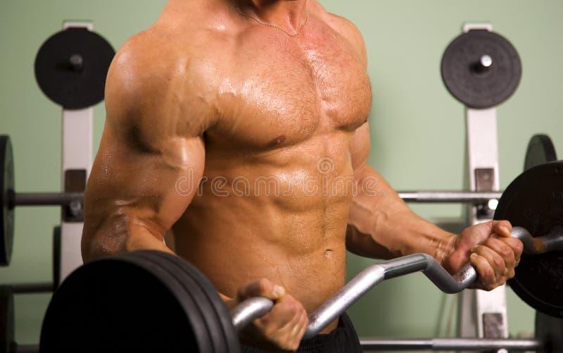 атлетический близкий поднимаясь человек вверх по весам стоковая фотография rf
