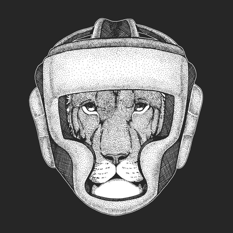 Атлетический животный чемпион бокса Печать для футболки, эмблемы, логотипа искусства военные Иллюстрация вектора с бойцом Спорт иллюстрация вектора