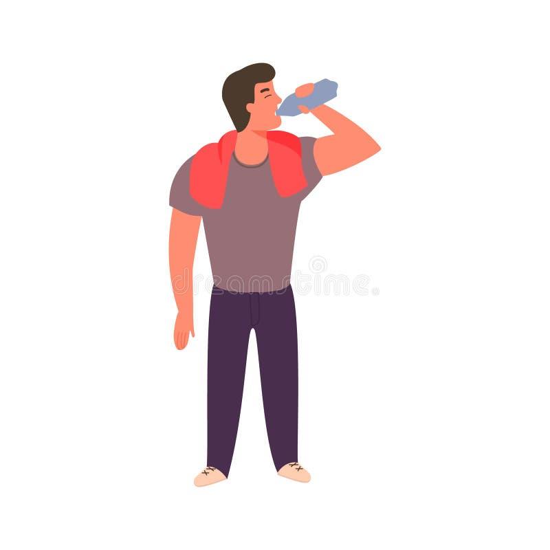 Атлетический молодой человек питьевая вода от бутылки иллюстрация штока