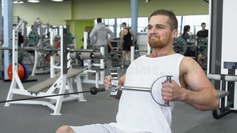 Атлетический молодой человек работая на приборе блока Портрет сильного атлетического человека на тренировке спортзала стоковые изображения