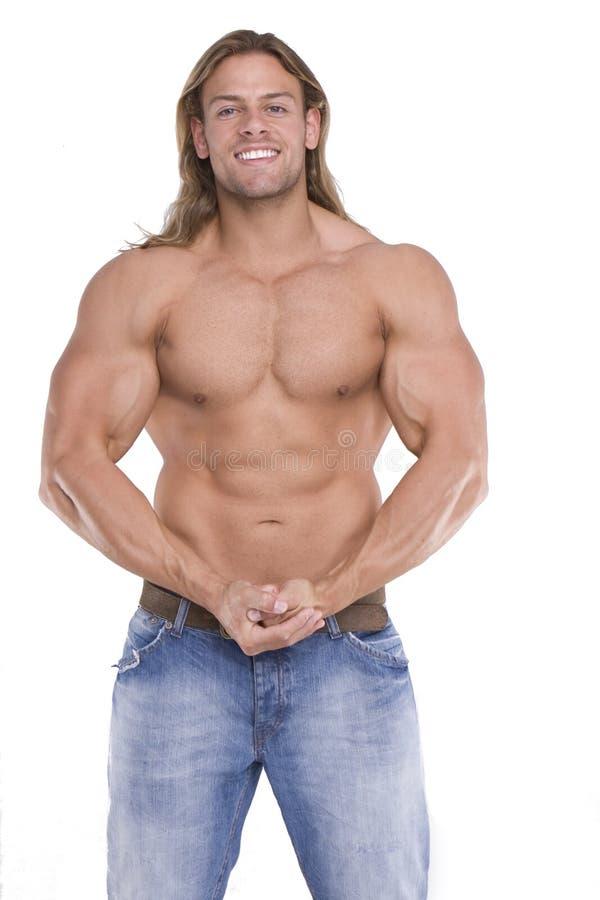 атлетический мужчина строителя тела сексуальный стоковая фотография rf
