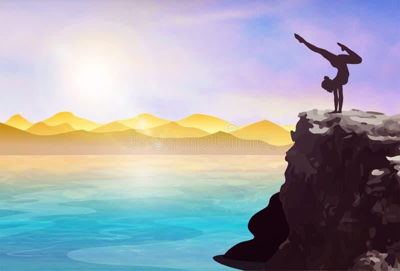 Атлетический силуэт женщины на скале иллюстрация вектора