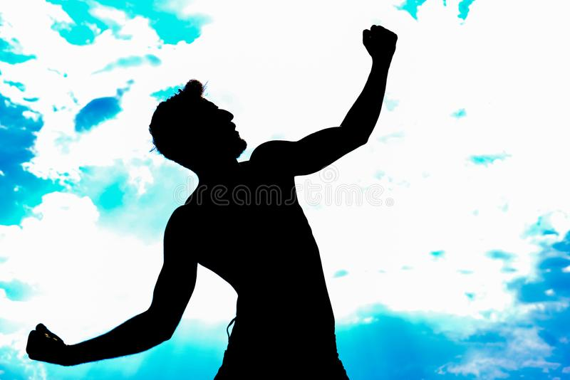 Атлетический силуэт человека стоковое изображение