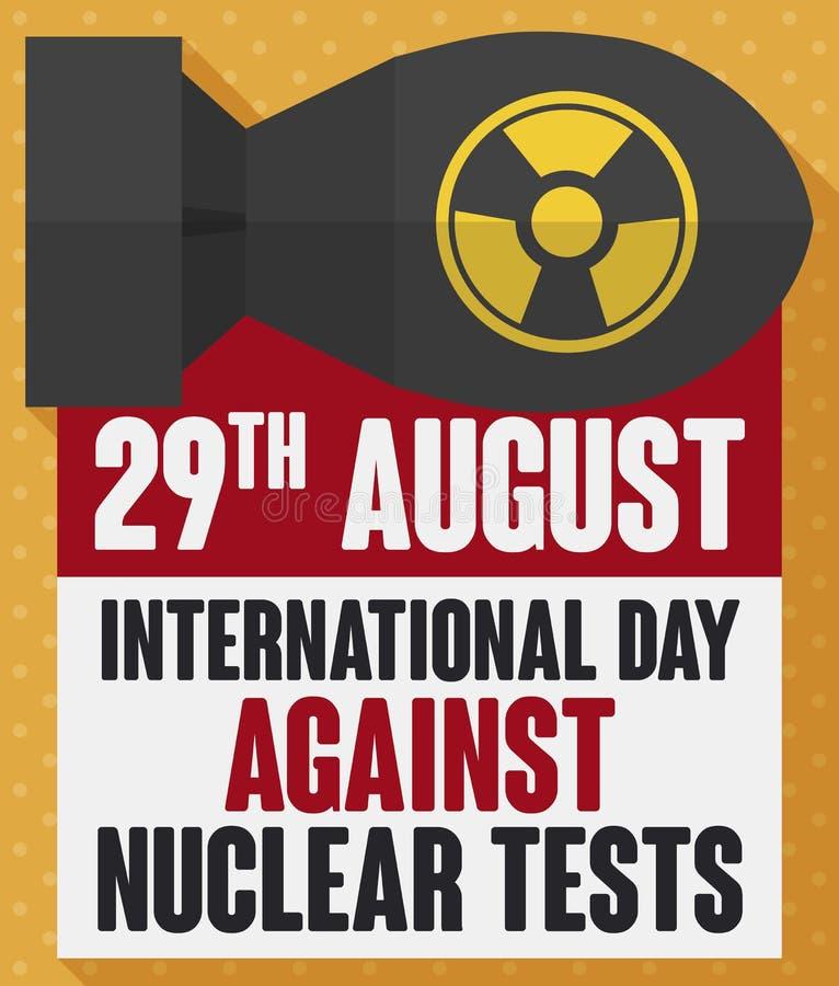 Атомная бомба с сообщением осведомленности на день против ядерных испытаний, иллюстрация вектора бесплатная иллюстрация