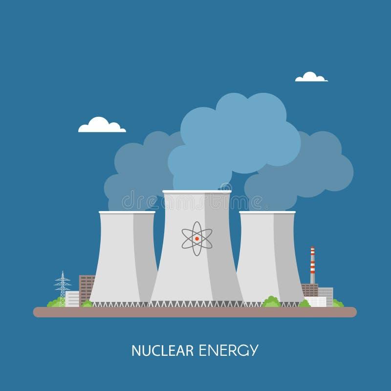 Атомная электростанция и фабрика Концепция энергии промышленная бесплатная иллюстрация