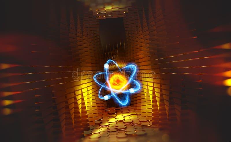 Атом Исследование структуры вселенной Коллайдер адрона и технологии будущего иллюстрация вектора