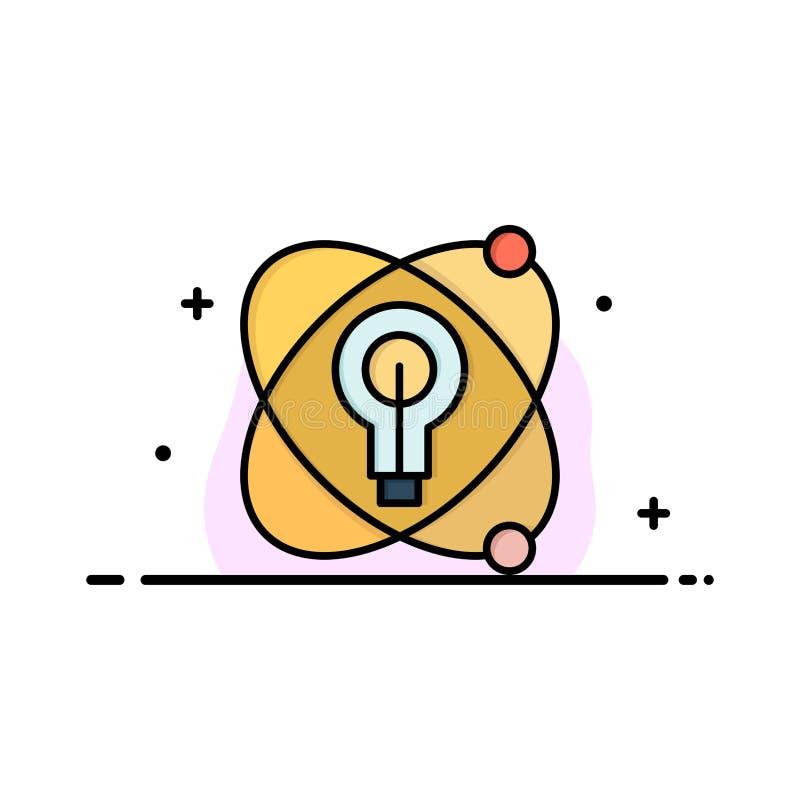 Атом, образование, ядерное, линия дела шарика плоская заполнил шаблон знамени вектора значка бесплатная иллюстрация