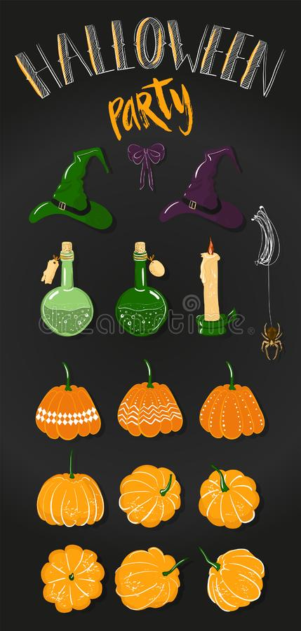 Атрибуты для оформления праздника Clipart на хеллоуин: тыквы, отрава в бутылке, паук на сети, шляпа ведьмы, смычок и бесплатная иллюстрация