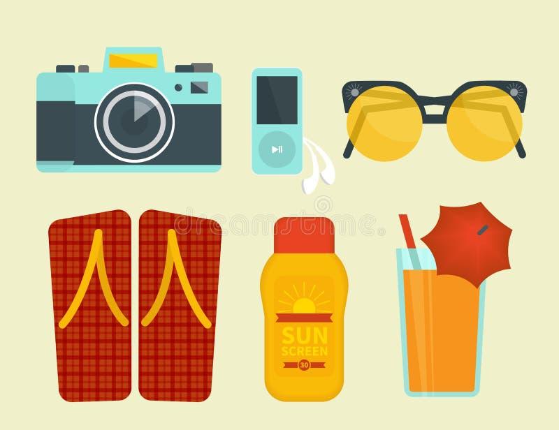 Атрибуты летних каникулов иллюстрация вектора
