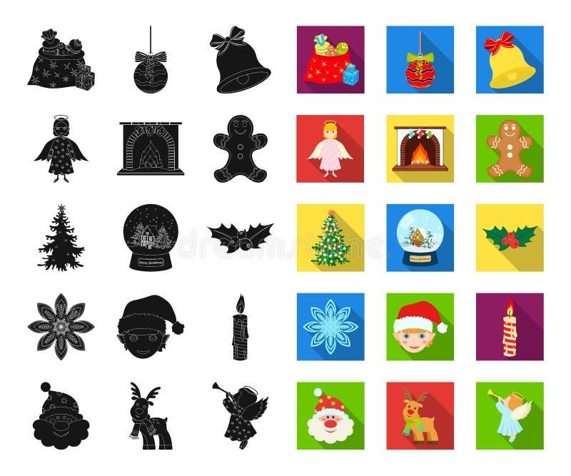 Атрибуты рождества и аксессуары черные, плоские значки в установленном собрании для дизайна С Рождеством Христовым запас символа  иллюстрация вектора