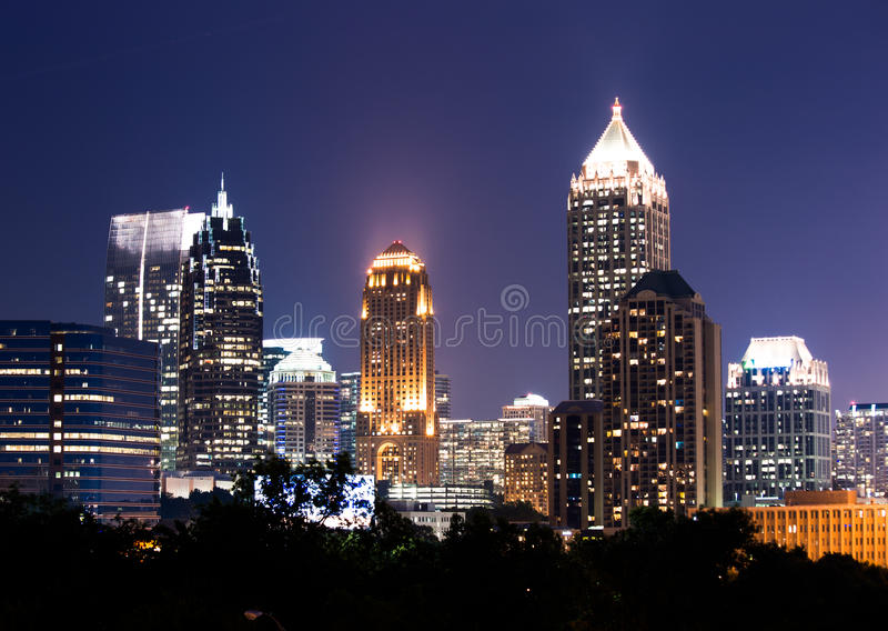 Атланта городская на сумраке стоковая фотография rf