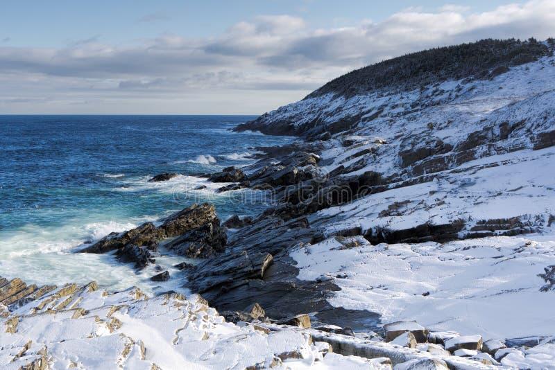Атлантическая береговая линия в зиме стоковые изображения rf