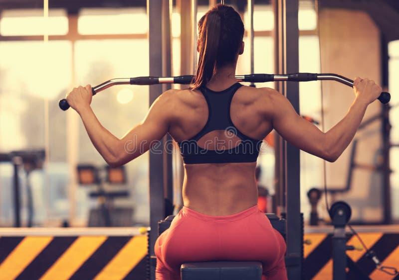 Атлетическая женщина делая тренировку для задней части в спортзале - заднего взгляда стоковая фотография