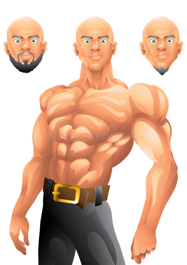 Атлетический облыселый дизайн характера парня иллюстрация штока