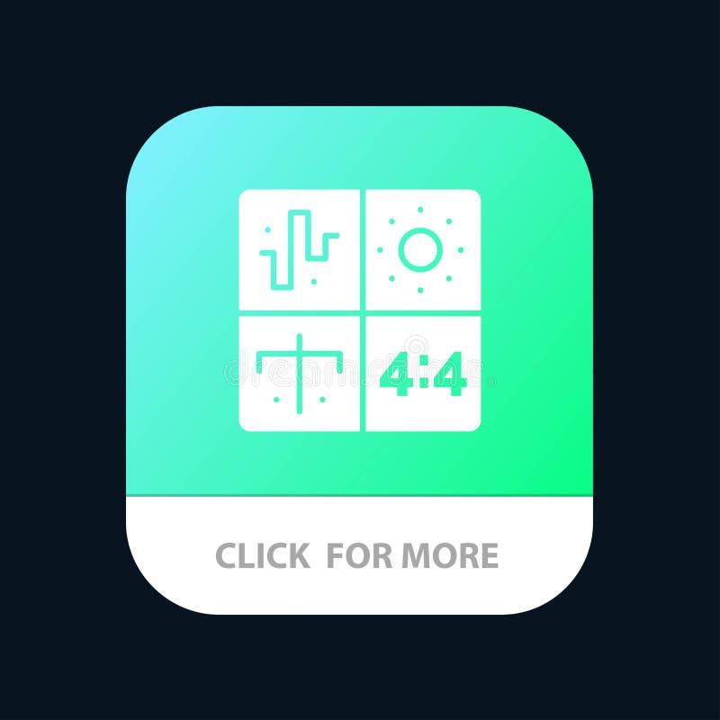 Аудио, дизайн, развитие, инженерство, кнопка приложения процесса мобильная Андроид и глиф IOS версия бесплатная иллюстрация