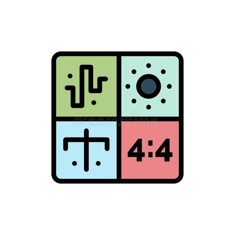 Аудио, дизайн, развитие, инженерство, отростчатый плоский значок цвета Шаблон знамени значка вектора бесплатная иллюстрация