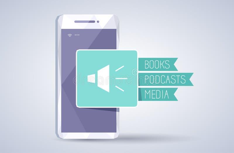 Аудио книги, podcasts, значок средств массовой информации на смартфоне иллюстрация вектора