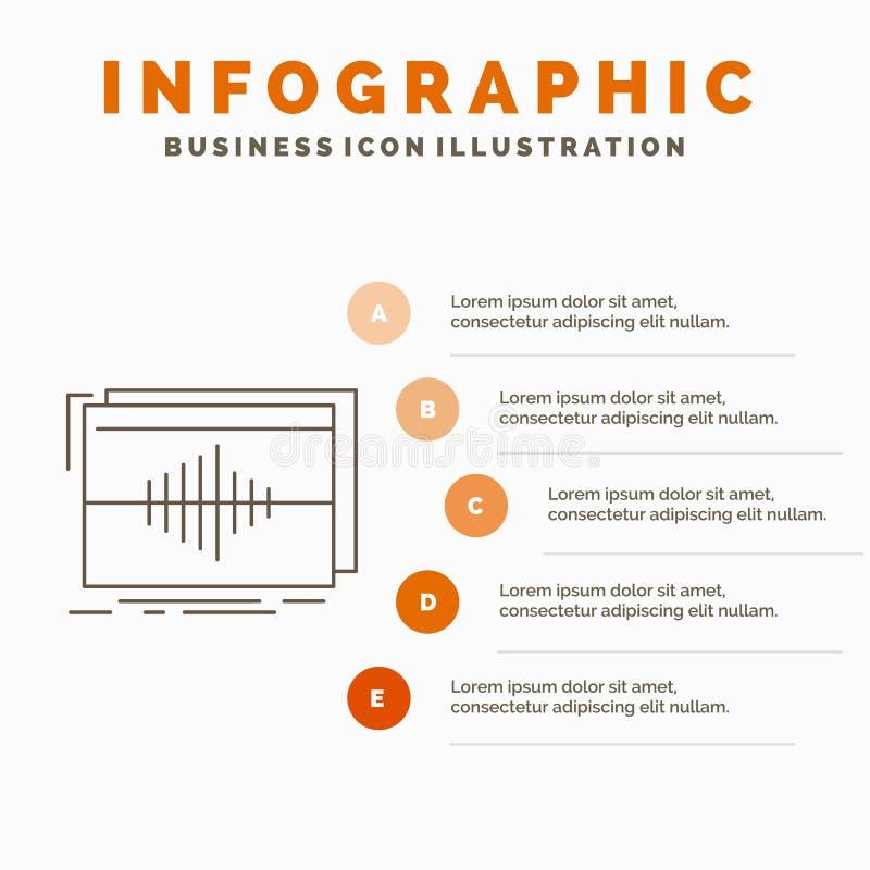 Аудио, частота, герцы, последовательность, шаблон Infographics волны для вебсайта и представление Линия серый значок с оранжевое  иллюстрация вектора