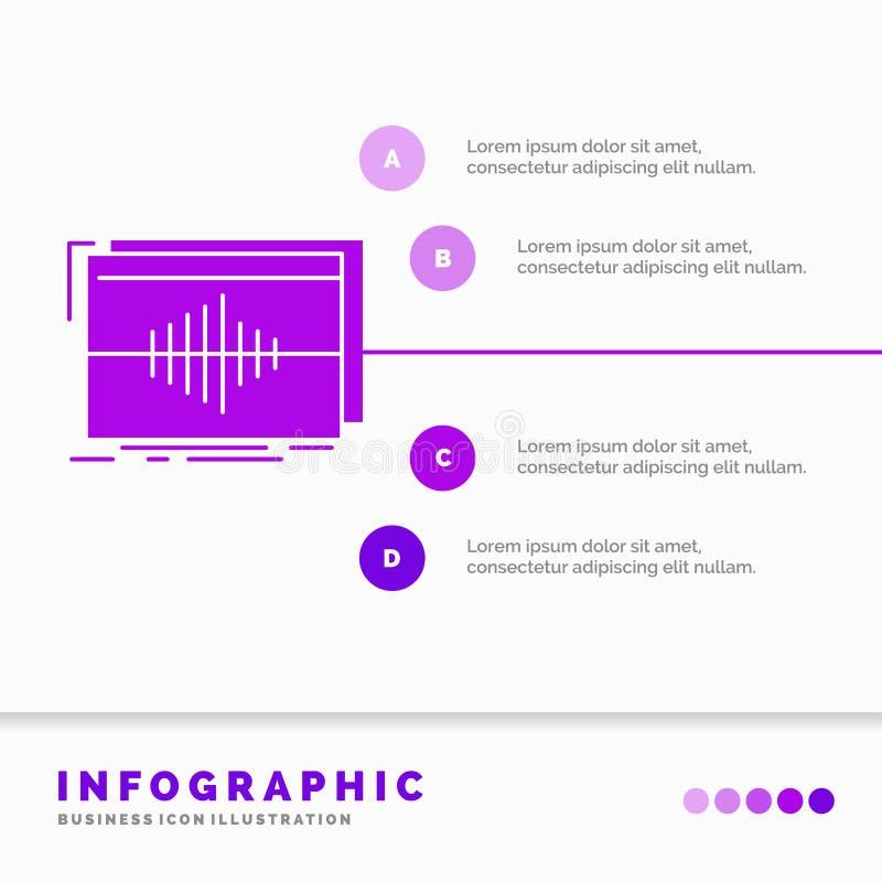 Аудио, частота, герцы, последовательность, шаблон Infographics волны для вебсайта и представление r иллюстрация штока