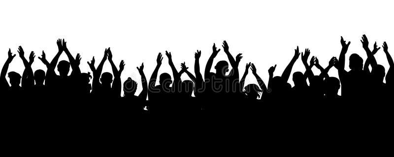 Аудитория рукоплескания Жизнерадостные вентиляторы толпы аплодируя, хлопающ Люди веселя, руки толпы приветственного восклицания в иллюстрация штока