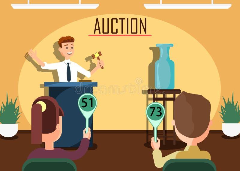 Аукционист с молотком продавая вазу к участнику иллюстрация вектора