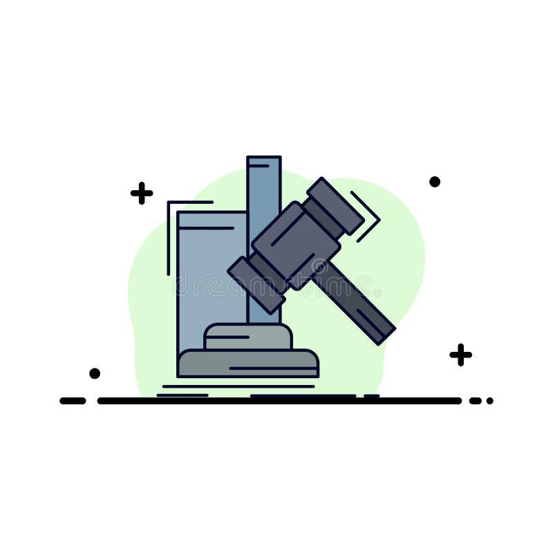 Аукцион, молоток, молоток, суждение, вектор значка цвета закона плоский бесплатная иллюстрация