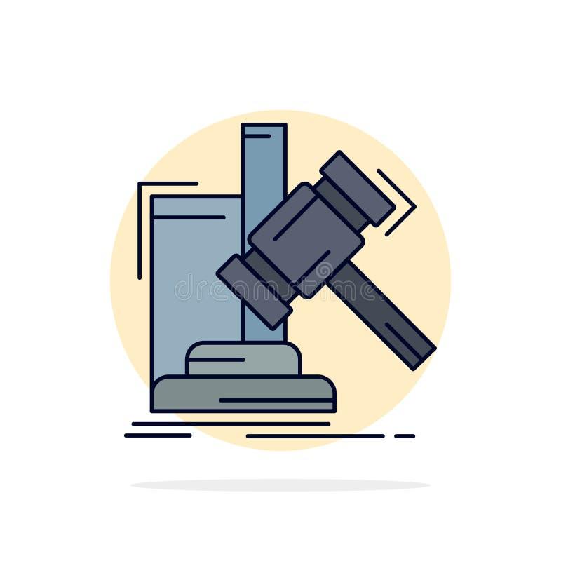 Аукцион, молоток, молоток, суждение, вектор значка цвета закона плоский иллюстрация штока