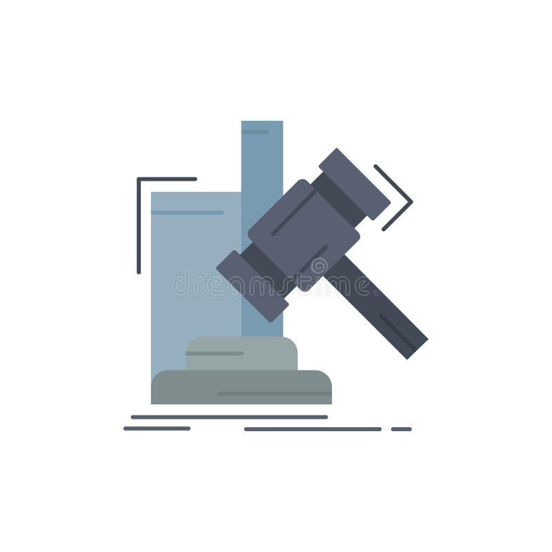 Аукцион, молоток, молоток, суждение, вектор значка цвета закона плоский иллюстрация вектора