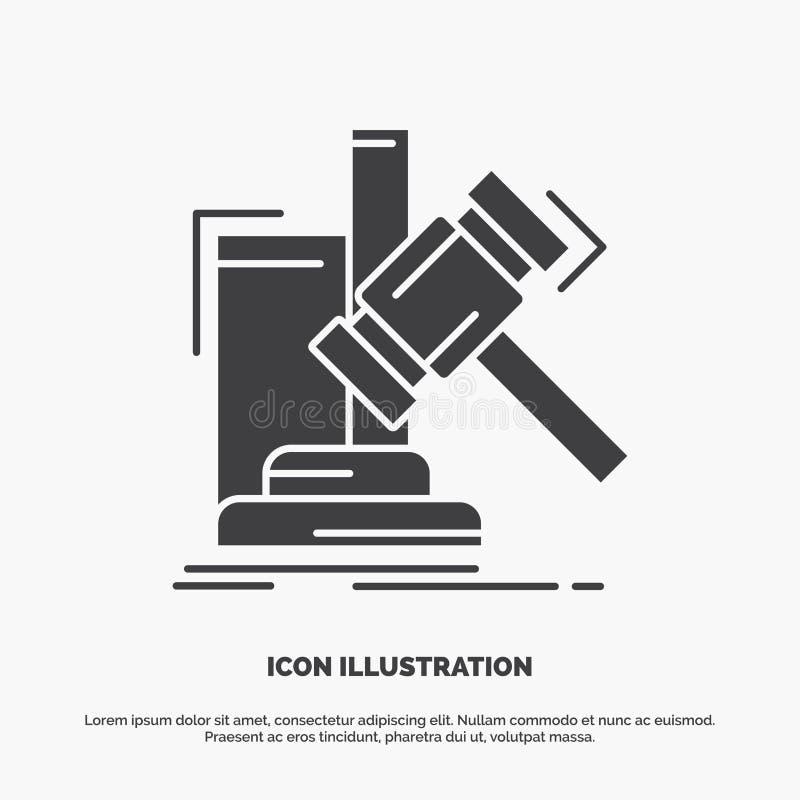 Аукцион, молоток, молоток, суждение, значок закона символ вектора глифа серый для UI и UX, вебсайта или мобильного применения бесплатная иллюстрация