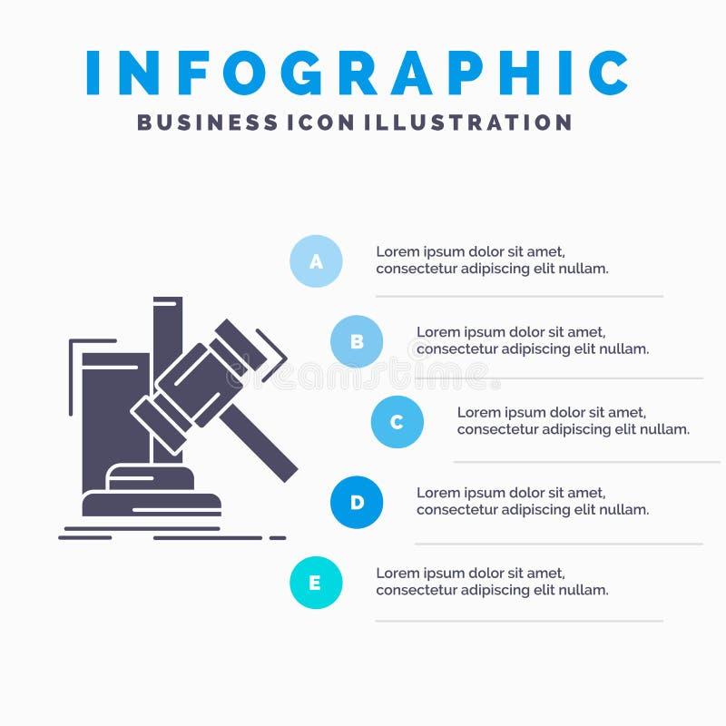 Аукцион, молоток, молоток, суждение, шаблон Infographics закона для вебсайта и представление r иллюстрация штока