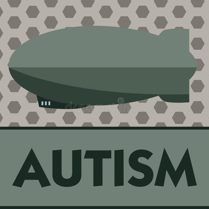 Аутизм текста сочинительства слова Концепция дела для затруднения в взаимодействовать и формировать дела с другим показом иллюстрация штока