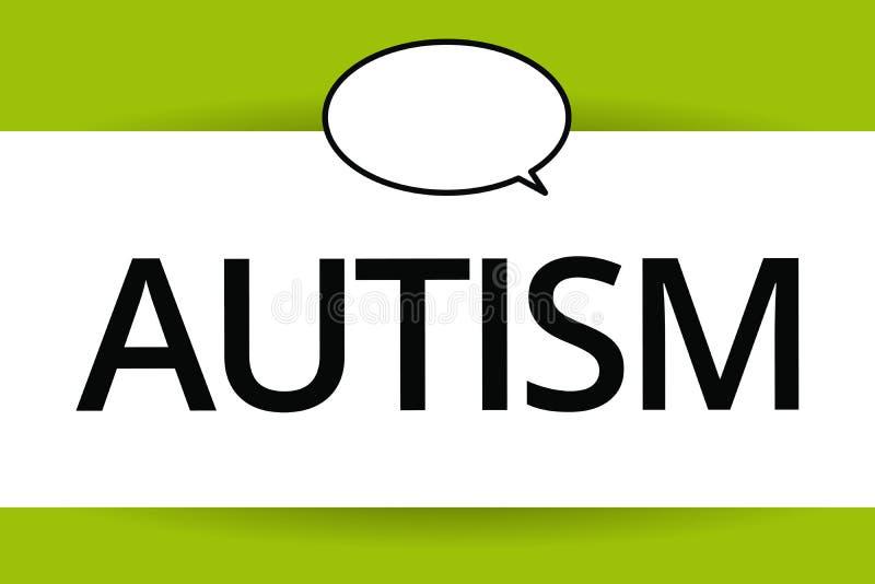 Аутизм текста сочинительства слова Концепция дела для затруднения в взаимодействовать и формировать дела с другим показом бесплатная иллюстрация