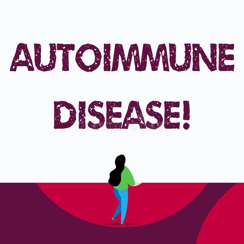 Аутоиммунная болезнь показа знака текста Схематические ткани тела фото атакованы своей собственной иммунной системой иллюстрация вектора