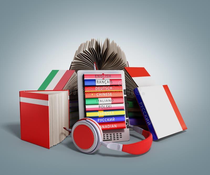 Аудио EBook уча языки и книги 3d представляют на сером выпускнике иллюстрация вектора