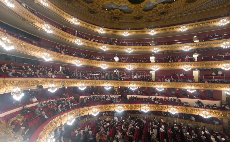 Аудитория на концерте Beethoven в Gran Teatre del Liceu стоковое изображение