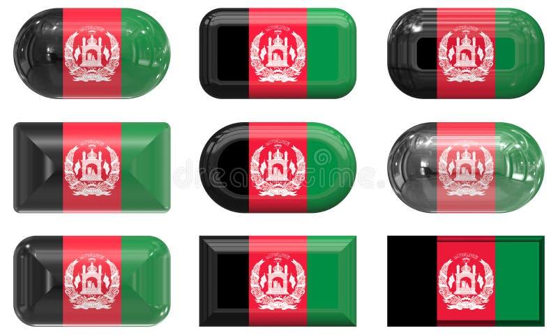 Афганистан застегивает стекло 9 флага иллюстрация вектора