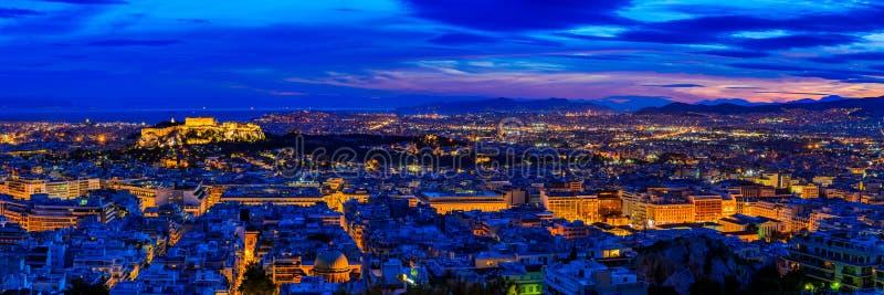 Афина в Греции вечером стоковые фотографии rf
