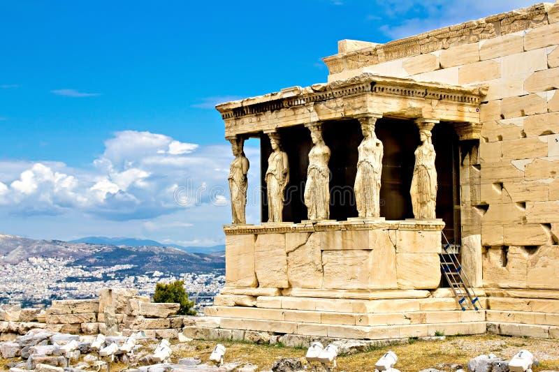 Афиныы, акрополь, крылечко Erechtheum стоковые изображения rf