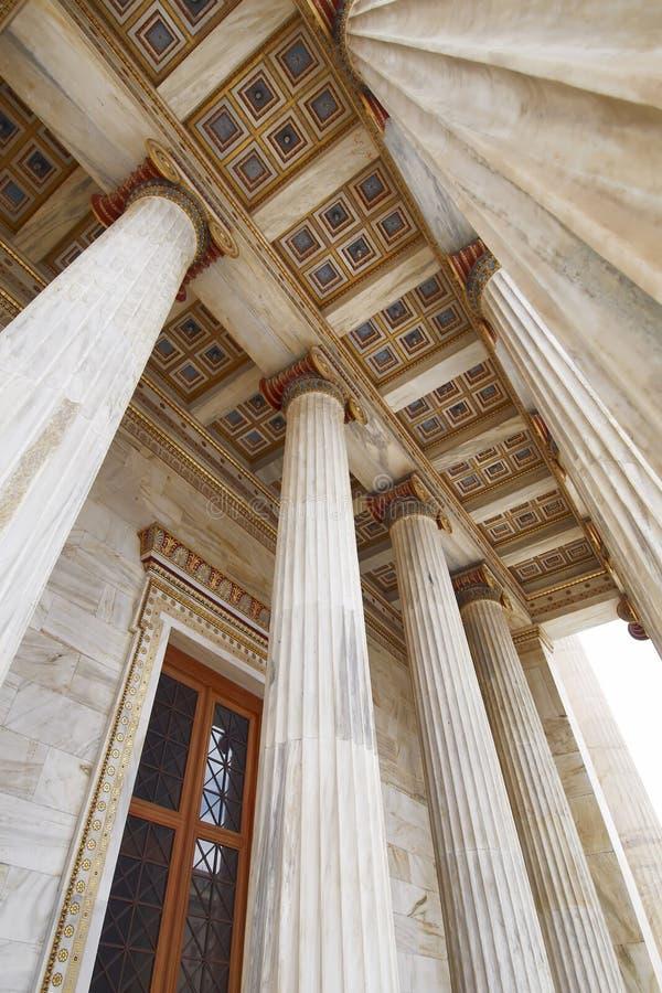 Афины Греция, деталь крыши национальной академии стоковые фотографии rf