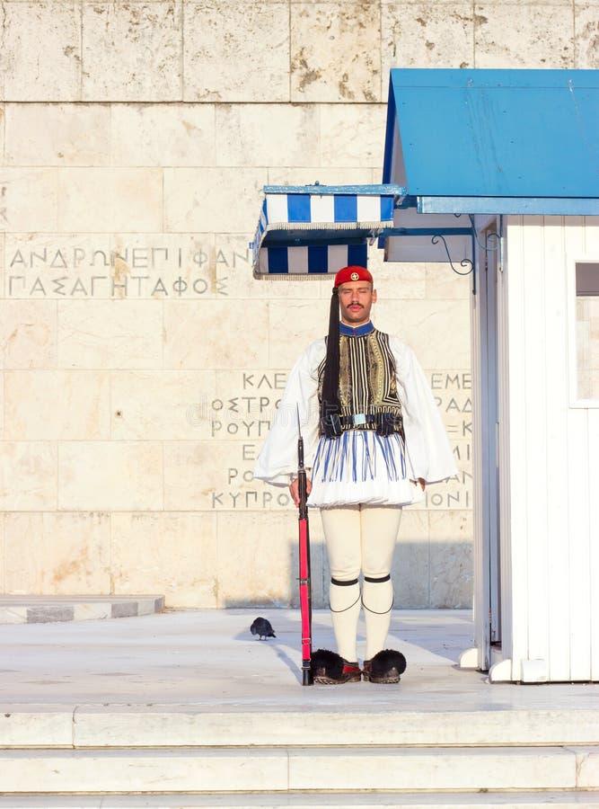 АФИНЫ, ГРЕЦИЯ - 15-ое августа 2018: Предохранитель Evzoni, грек председательствует стоковые изображения rf