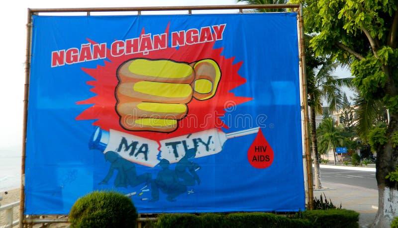 Афиша пропаганды Вьетнама социалистическая на улице стоковые изображения