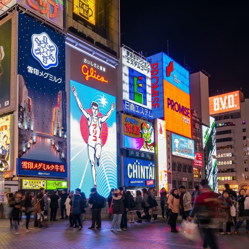 Афиша света человека Glico в Осака стоковые изображения rf