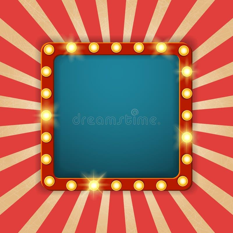 Афиша светлой рамки сияющая ретро Сияющее ретро квадратное знамя Стиль плаката казино винтажный также вектор иллюстрации притяжки иллюстрация вектора