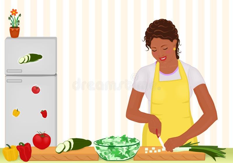 африканская варя женщина салата кухни иллюстрация вектора
